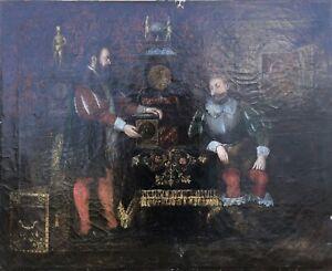 Oil Painting 19. CENTURY MERCHANTS Interior Knight JT Monogram? 55 x 69 cm