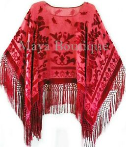 Silk-Burnout-Velvet-Poncho-Top-Fringe-Piano-Shawl-Wrap-True-Red-Maya-Matazaro