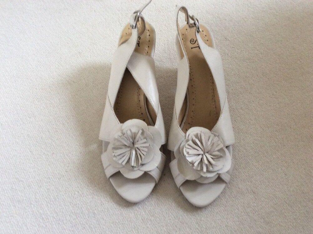"Moda jest prosta i niedroga Cream Leather, Sling Back, Peep Toe, Shoes - ST World Size 39, 3"" Heel"
