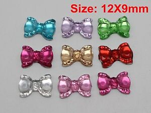 200-Mixed-Color-Flatback-Bowknot-Bows-Rhinestone-Gems-12X9mm-Embellishments