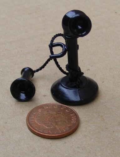 Escala 1:12 teléfono Candelabro Ajustable Negro Década de 1920 tumdee Casa De Muñecas D023