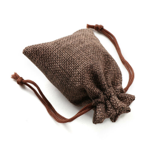 100xSmall Bag Natural Linen Pouch Drawstring Burlap Jute Sack Jewelry Gift Bags