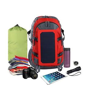 Durable 6.5W Solar Powered Backpack Bag Travel Outdoor Red Lightweight Portable