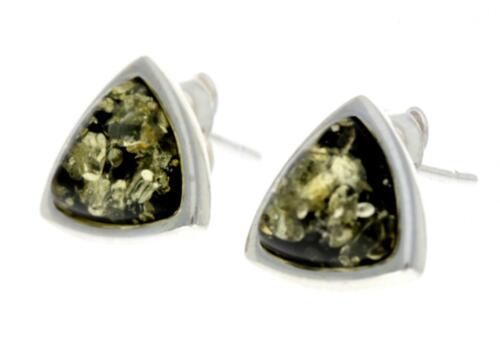 Certificado del Báltico Ámbar 925 Sterling Silver Triángulo Stud Pendientes GL031