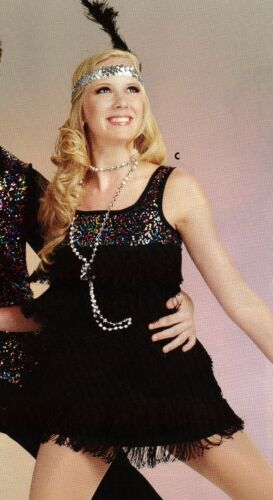 NWT Sequin trim Dance Costume Charleston Shimmy dress Ch//Adult szs w// hdpc beads