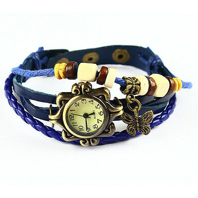 Watch Women's Boho-Chic Vintage-Inspired Handmade Leather Bracelet Butterfly