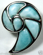 Genuine AAA  Larimar Inlay 925 Sterling Silver Seashell Pendant For Necklace
