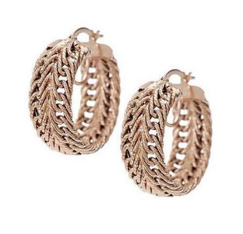 "Herringbone Intricate Textured Woven Wheat Hoop Earrings 14K Yellow Gold 1/"" 8mm"