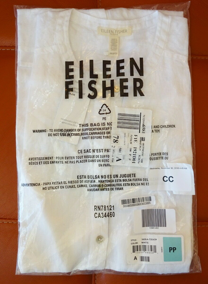 d172a809 Eileen Fisher Split Neck Longline Linen Tank Petite PP White Buttondown for  sale online | eBay