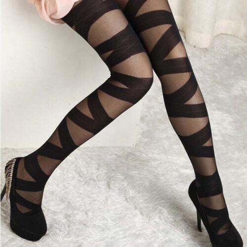 Womens Black Mesh Stockings Punk Bandage Skinny Stretch Stockings Hosiery Black