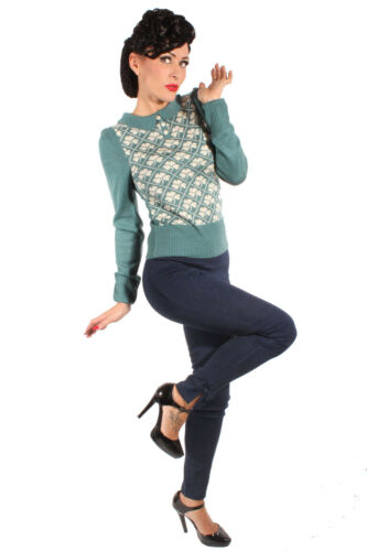 Vintage Retro Shamrock hiver tricot pull polo manches longues Jumper