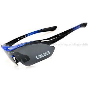 RockBros Polarized Cycling Glasses Goggles Eyeware Sunglasses Blue Black UV400