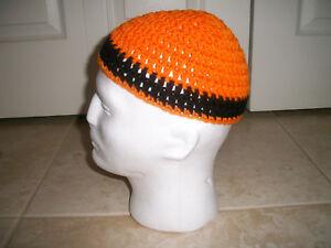 0089057d925489 Adult Handmade Crochet Skull Cap Kufi Beanie Hat Orange & Black ...
