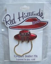 Great Item 4 Red Hattitude Hat Society Eyeglass Holder Pin Brooch 18 Kt Gold  Finish Brim Bow  Red Hattitude Hat Society Eyeglass Holder Pin Brooch 18 Kt  Gold ...