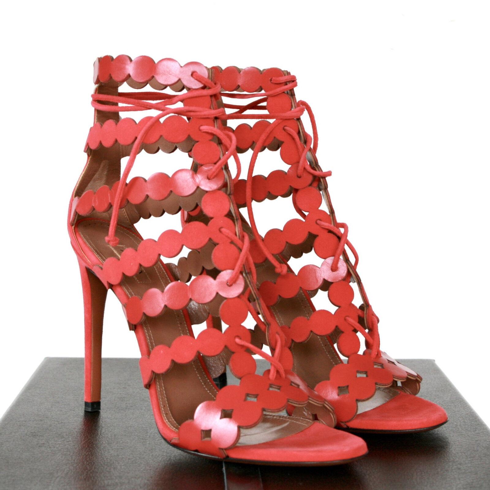 ALAIA  1,750 cutout circle dot high heel sandals alaïa rot pumps schuhe 39.5 NEW