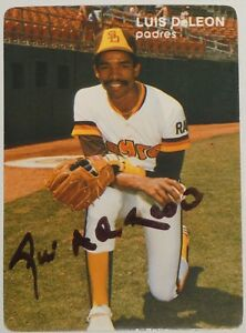 Luis DeLeon Signed 1984 Mother's Cookies Padres Baseball Card #17 World Series