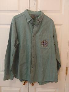 Men Karl Kani Jeans KKJ 23 Green Long Sleeve Button Down Shirt Size XL
