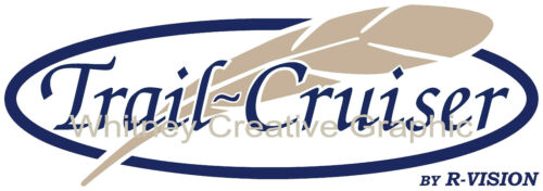 "/""TRAIL CRUISER/"" With Feather  RV LOGO Graphic decal lettering 36/""x13/"""