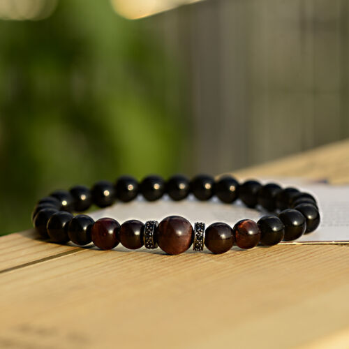 10mm Tiger Eye 8mm Black Agate Beads Zircon Charm Couple Bracelets For Men Women