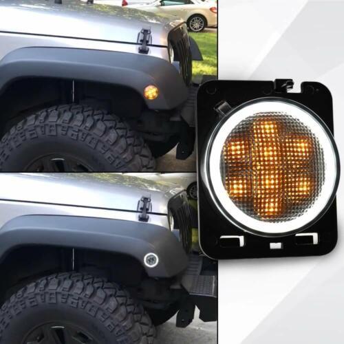 2 Front Fender Side Marker LED Light w// Halo Ring DRL for Jeep Wrangler 07-17 JK