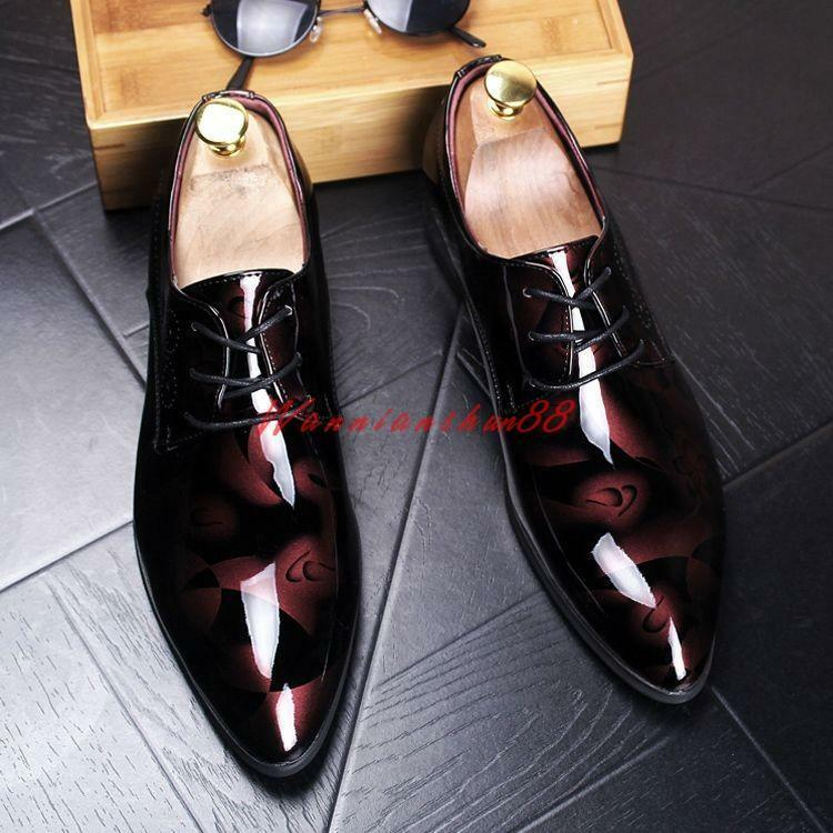 Stylish Mens Shiny Patent Leather Floral Lace Up Dress Formal Wedding shoes sz