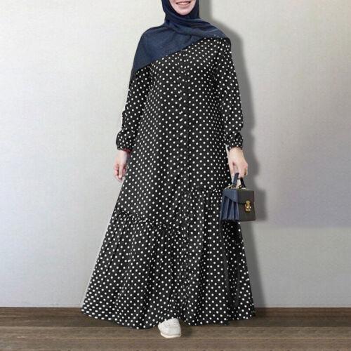 Muslim Womens Floral Printed Long Sleeve Casual Loose Maxi Dress Abaya Kaftan