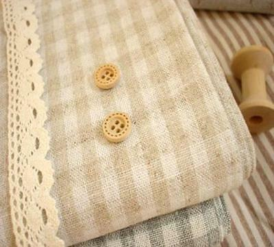 Shabby Chic Cottage Beige Ivory Check Linen Blend Fabric  Large Remnant