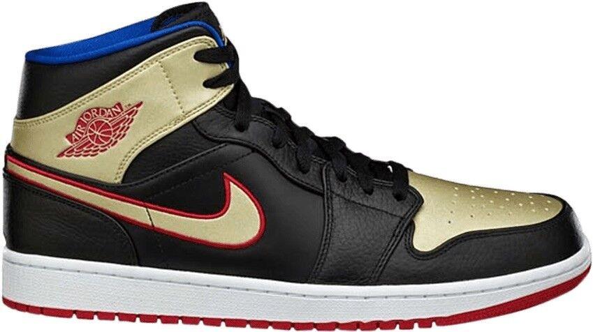 Nike Air Jordan 1 Mid Black Red Metallic gold Size 10.5 Mens shoes 554724 013