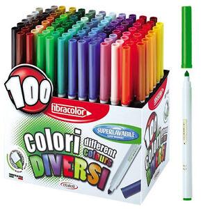 100 Pics Farben.Filzstifte Fasermale Fibracolor 100 Farben Ebay