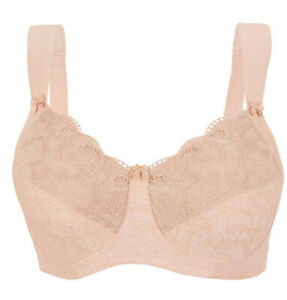 SOFT-SHOULDERS-42-Bra-Comfort-amp-Support-X-WIDE-STRAPS-Full-Figure-Nude-NEW