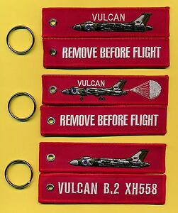 Vulcan REMOVE BEFORE FLIGHT Bordado Llavero/Etiqueta UN CONJUNTO DE 3 Diferente