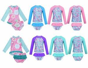 Mädchen Badeanzug Langarm UV Schutz Kinder Muster der Fischskala Strandkleidung