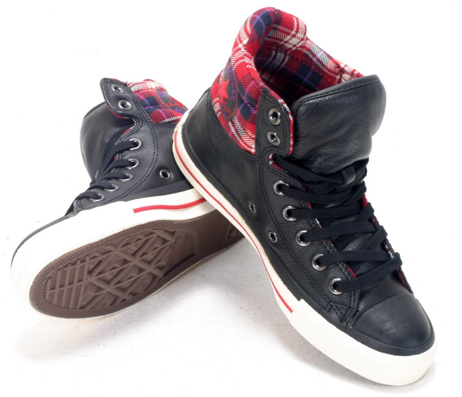 CONVERSE UNISEX PADDED REAR BLACK RED HI-TOP UK 3.5 EU36 113256