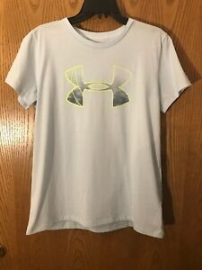 Under-Armour-Women-039-s-Heat-Gear-Graphic-Classic-Crew-Large-Light-Blue