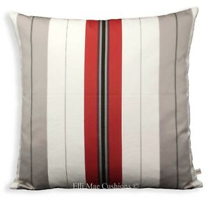 Details about Luxury Designer Fabric Red Grey White Striped Sofa Throw  Pillow Cover