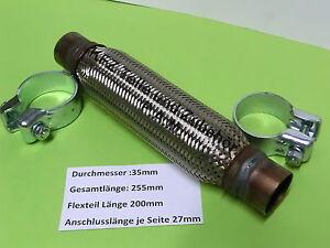 1 Stück Flexrohr Auspuff 35 mm Ø x 200mm G.Länge 255mm zuschneidbar schweißbar