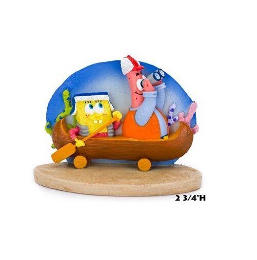 SpongeBob Squarepants Fish Aquarium Ornament With Patrick in Canoe SBR45