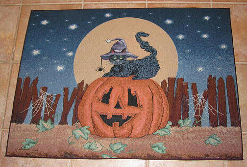 Halloween Pumpkin & Black Cat ~ Cat Like Night Tapestry Accent Rug