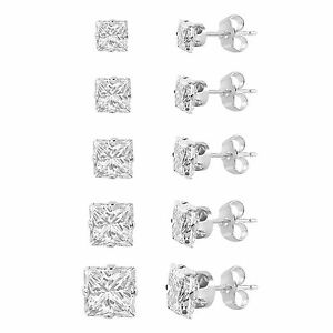 Set-of-5-Sterling-Silver-925-Princess-Cut-Cubic-Zirconia-Stud-Earrings-pairs-CZ