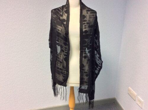 Lightweight Fringed NEW Black Scarf//Wrap Free Post Silk Mix