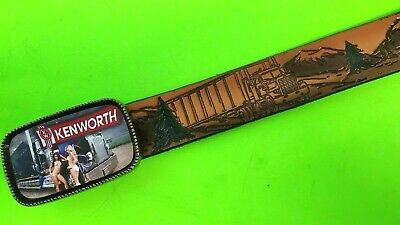 PETERBUILT Truckstop Leather Belt Cowhide and Matching epoxy PETERBUILT Buckle