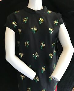 BNWT-STELLA-MCCARTNEY-Womens-Black-Sleeveless-Top-With-Gold-Flowers-UK-10
