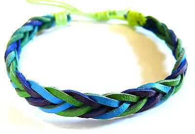 Bracelet Brésilien en Cuir Amitié Friendship Porte Bonheur Leather vert bleu
