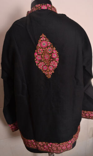 Cachemira Bordado India 100% Lana Sherwani. Medium-Size Chaqueta Negro