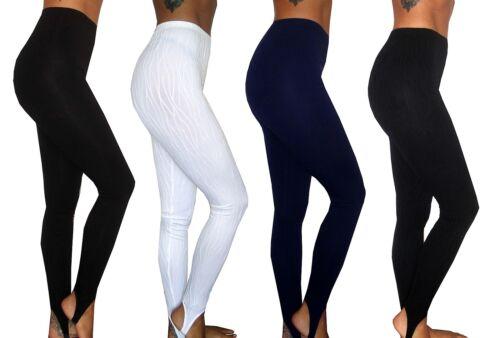 WOMENS BLACK STIRRUP LEGGINGS UK SIZE 8 10 12 14 16 18 20 22 24 26 28 PLUS S M L
