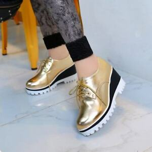 Stylish-Womens-Platform-Wedge-Heels-Oxford-Lace-Up-Round-Toes-Shiny-Casual-Shoes