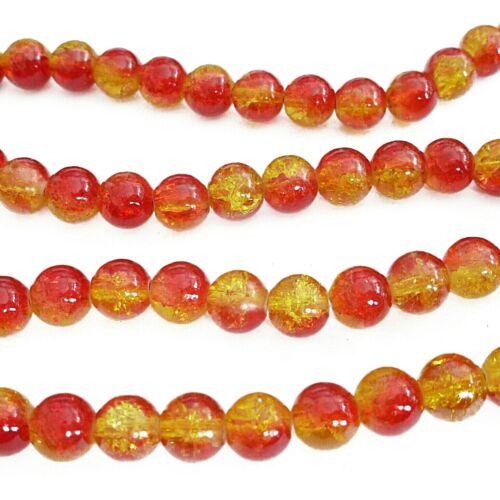 Environ 105 perles de verre Crackle rond 8mm rouge jaune perles Nenad-DESIGN