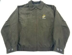 Cutter-amp-Buck-Men-039-s-Sz-Large-Smoke-Green-Micro-Suede-City-Bomber-Jacket-USMC-EUC