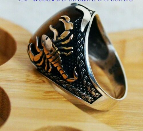 Tigers Eye Stone Turkish Animal Scorpion 925 Sterling Silver Mens Ring ALL SİZE
