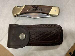Vintage Dekalb Folding Seed / Corn Advertising Pocket Knife With Leather Sheath.